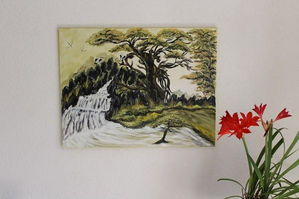 Bild Am Fluss handgemalt Landschaft Acryl auf Leinwand